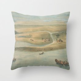Vintage Map of Chicago in 1820 Throw Pillow