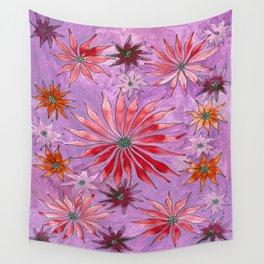 Red and pink florals Wall Tapestry