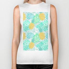 Tropical Pineapple and Leaf Pattern Biker Tank