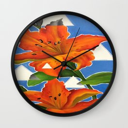 Flowers and Fragments Wall Clock