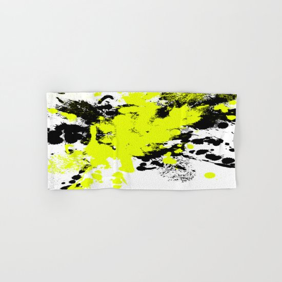 Surprise! Black and yellow abstract paint splat artwork Hand & Bath Towel