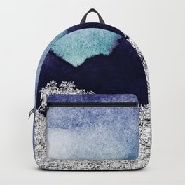 Silver foil on blue indigo paint Backpack
