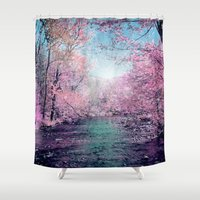 tree of life Shower Curtains featuring tree by mark ashkenazi