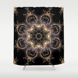 Purple and Gold Fractal Kaleidoscope 2 Shower Curtain