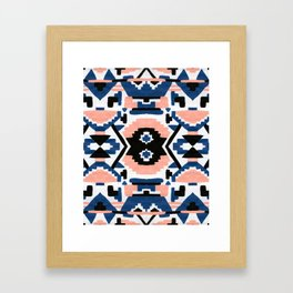 Geometric Aztec - coral and lapis Framed Art Print