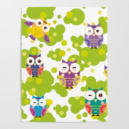 bright colorful owls and green leaves on white background Poster