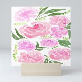 Pink Peonies Watercolor Mini Art Print