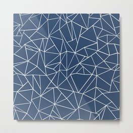 Abstraction Outline Navy Metal Print