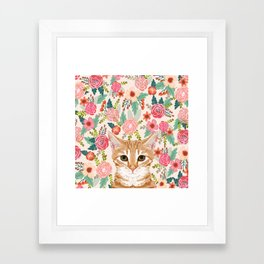 Orange Tabby floral cat head cute pet portrait gifts for orange tabby cat must haves Framed Art Print