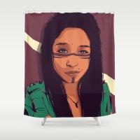 allison argent Shower Curtains featuring Allison by Conrado Salinas