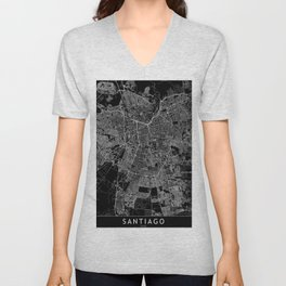 Santiago Black Map Unisex V-Neck