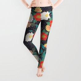Elegant hand drawn floral and confetti design Leggings