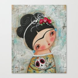 Frida and her sugar skull Canvas Print