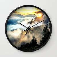 mountains Wall Clocks featuring Sunrise mountains by 2sweet4words Designs