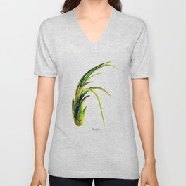 Tillandsia Paucifolia Air Plant Watercolors Unisex V-Neck