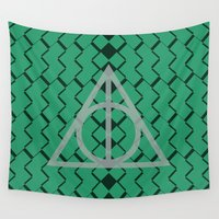 deathly hallows Wall Tapestries featuring The Deathly Hallows- Slytherin by cinefuck
