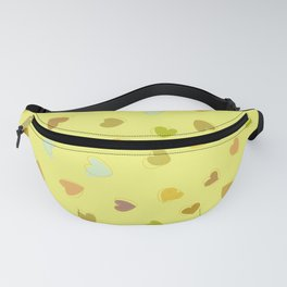 Love, Romance, Hearts - Yellow Green Brown Blue Fanny Pack