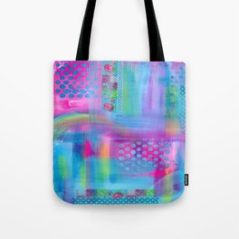 Pink with Blue Dots Tote Bag