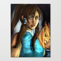 the legend of korra Canvas Prints featuring korra by Rowena White