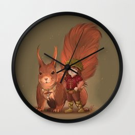Nino & Roux, Forest child and his fellow Squirrel  Wall Clock