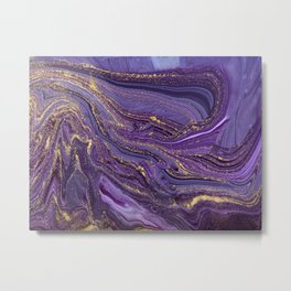 Purple Marble Glitter Gold Fluid Painting Pouring Jupiter Surface Glamorous Shiny Metallic Accents Metal Print