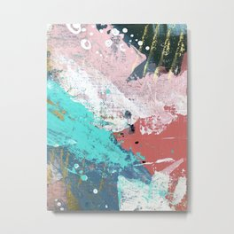 Daydreams: a colorful abstract mixed media piece in pinks, blues, greens, white, and gold Metal Print
