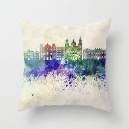 Salzburg skyline in watercolor background Throw Pillow