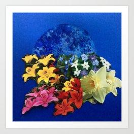 Garden Circle - Blue Art Print