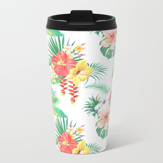 tropical watercolor floral pattern Metal Travel Mug