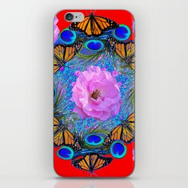 MONARCH BUTTERFLIES & ROSES  PEACOCK ART & RED ABSTRACT iPhone Skin