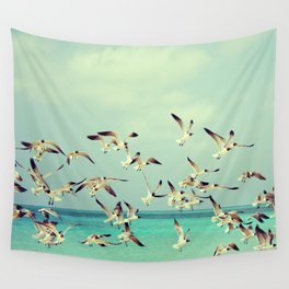 Sea landscape with seagulls. Wall Tapestry