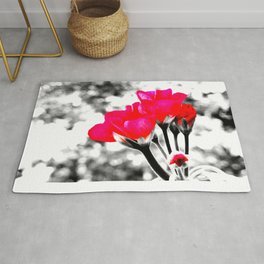 Hot Pink Flowers Pop Of Color Rug