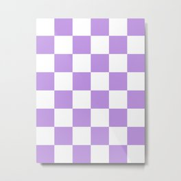 Large Checkered - White and Light Violet Metal Print
