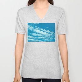 Beautiful blue sky and fluffy clouds Unisex V-Neck
