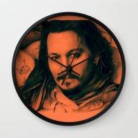 johnny depp Wall Clocks featuring Johnny Depp II. by Thubakabra