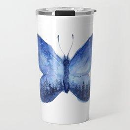 Blue Galaxy Butterfly Travel Mug