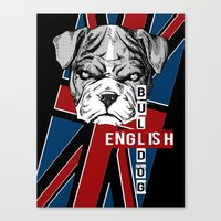 english bulldog Canvas Prints featuring English Bulldog by Det Tidkun