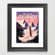 Colorado Ski travel poster Framed Art Print