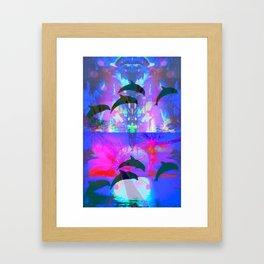 Seapunk Dolphin Love Framed Art Print
