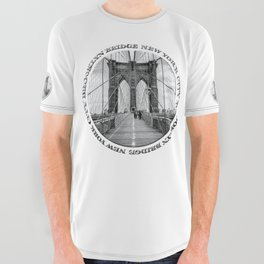 Brooklyn Bridge New York City (black & white with text) All Over Graphic Tee