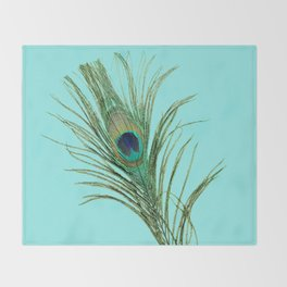 Peacock Feather on Blue Background Throw Blanket