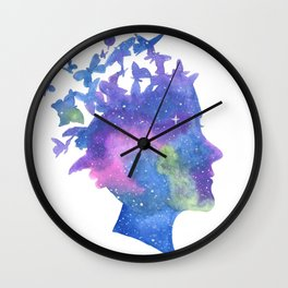 Galaxy Butterfly Girl Watercolor Wall Clock