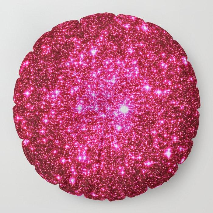 Hot Pink Glitter Galaxy Stars Floor Pillow