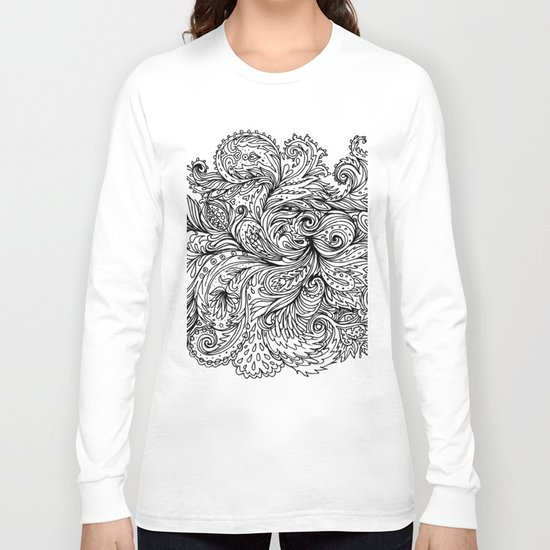 B&W Floral Indian Pattern Long Sleeve T-shirt