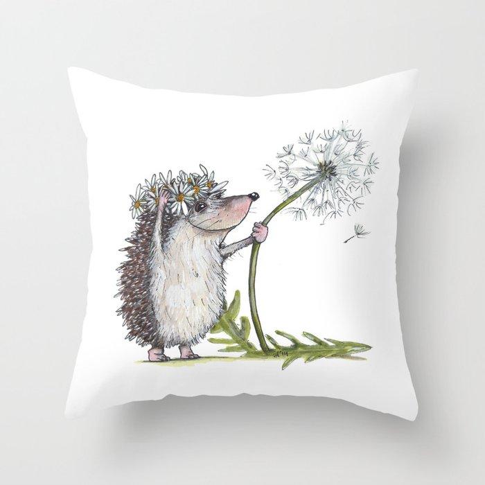 Hedgehog & Dandelion Throw Pillow