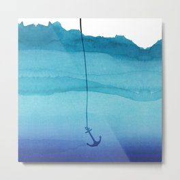 Cute Sinking Anchor in Sea Blue Watercolor Metal Print