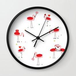 Flamingos. Candy, Gift box, heart balloon. Happy new year and merry Christmas circle frame Wall Clock