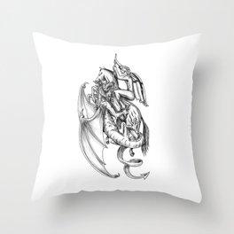 St George Slaying Dragon Tattoo Throw Pillow