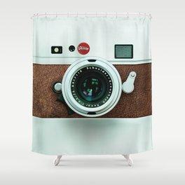 Retro vintage leather camera Shower Curtain