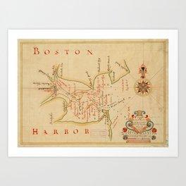 Vintage Map of Boston Harbor (1694) Art Print